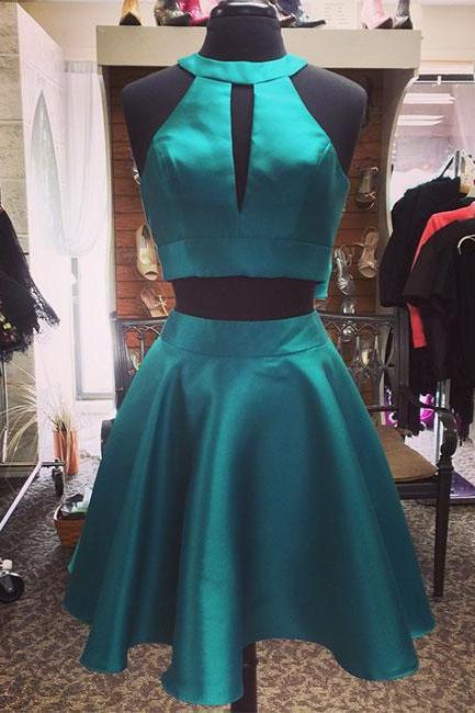 Hunter Green Two Pieces Short Prom Dress
