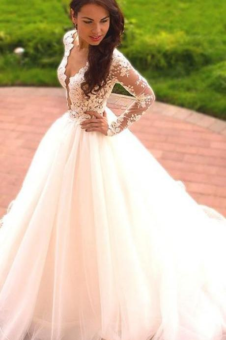Appliques White Ball Gown Wedding Dress, Long Sleeve Wedding Gown