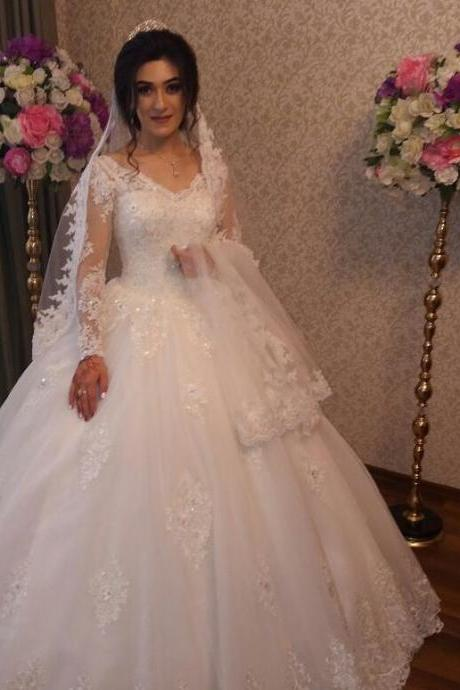 Charming Wedding Dress, Long Sleeve Wedding Dresses, Elegant Appliques Bridal Dress