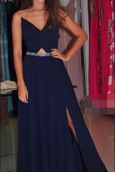 Charming Prom Dress, Long Prom Dresses, Sexy Slit Navy Evening Dress,Formal Gown,Evening Dresses,Prom Gowns, Formal Women Dress