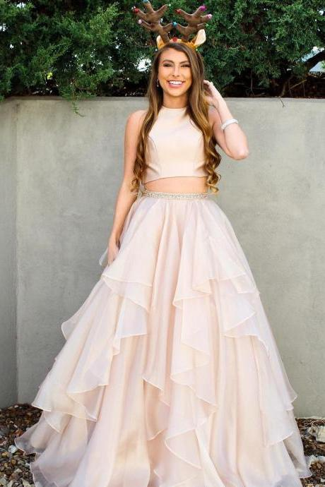 Two Piece Prom Dress, Tulle Evening Dress, Sexy Long Prom Dress, Formal Prom Dresses