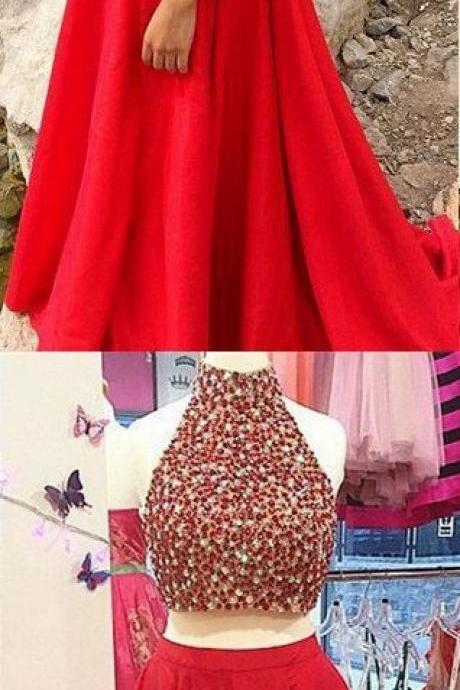 Charming Prom Dress,Halter Prom Dresses,Two Piece Prom Dresses,Red Evening Dress,Formal Dress