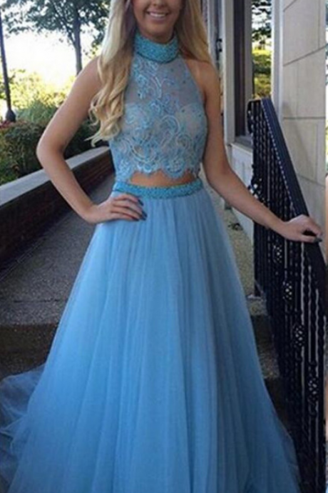 Two Pieces Prom Dresses Ball Gown Party Dress