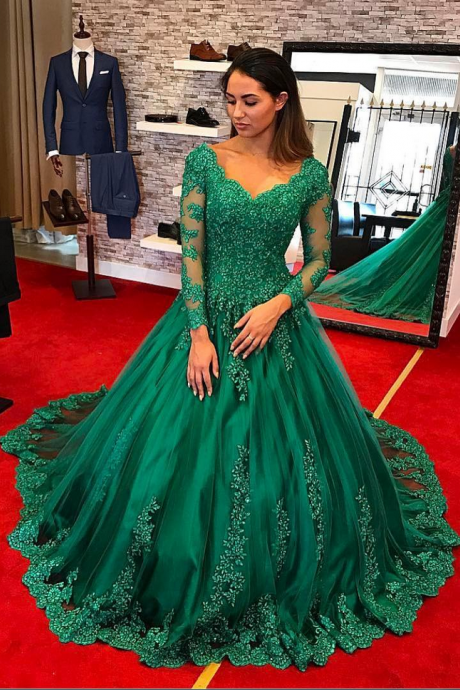 Long Sleeve Prom Dress, Hunter Green Prom Dress, Lace Applique Prom Dress, A Line Prom Dress, Prom Dresses, Beaded Prom Dress, V Neck Prom Dress, Elegant Prom Dress, Vestido De Festa De Longo, Women Formal Dress