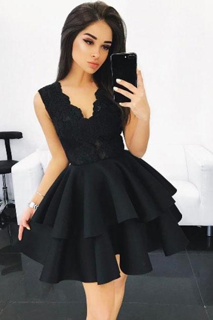 Black V Neck Lace Homecoming Dress,Ruffles Short Prom Dress,Lace Homecoming Dresses