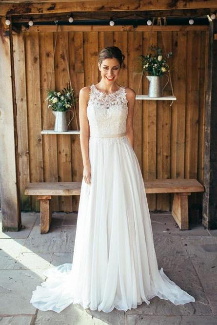 Sheer Neck Appliques Lace Chiffon Beach Wedding Dresses