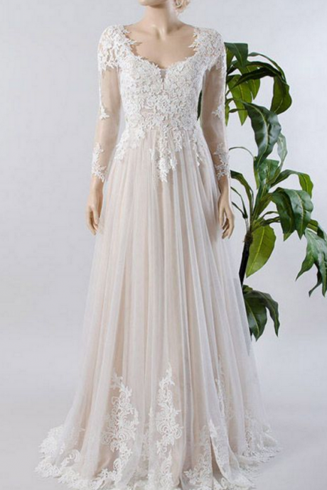 Scoop Long Sleeve Appliques A-Line Wedding Dresses