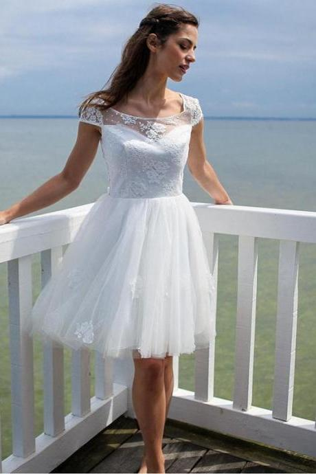 Cap Sleeve Open Back Short Wedding Dresses