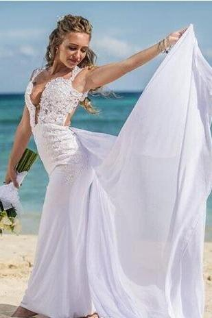 Deep V-Neck Appliques Beach Wedding Dresses