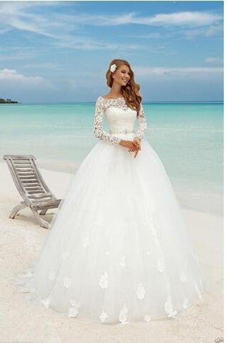Long Sleeve Lace Ball Gown Wedding Dresses
