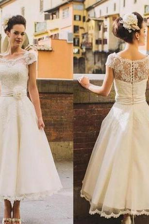 Sheer Neck Lace Short Wedding Dresses