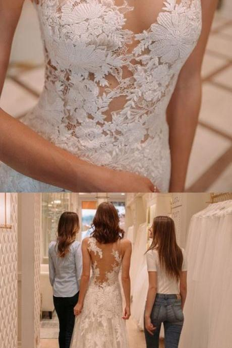See Through Lace Mermaid Wedding Dresses